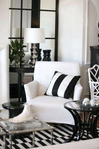 Black and white living room dcor | White arm chair ...