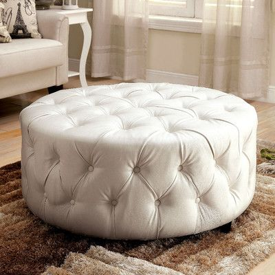 House of Hampton Bowie Leather Tufted Round Ottoman Upholstery ...
