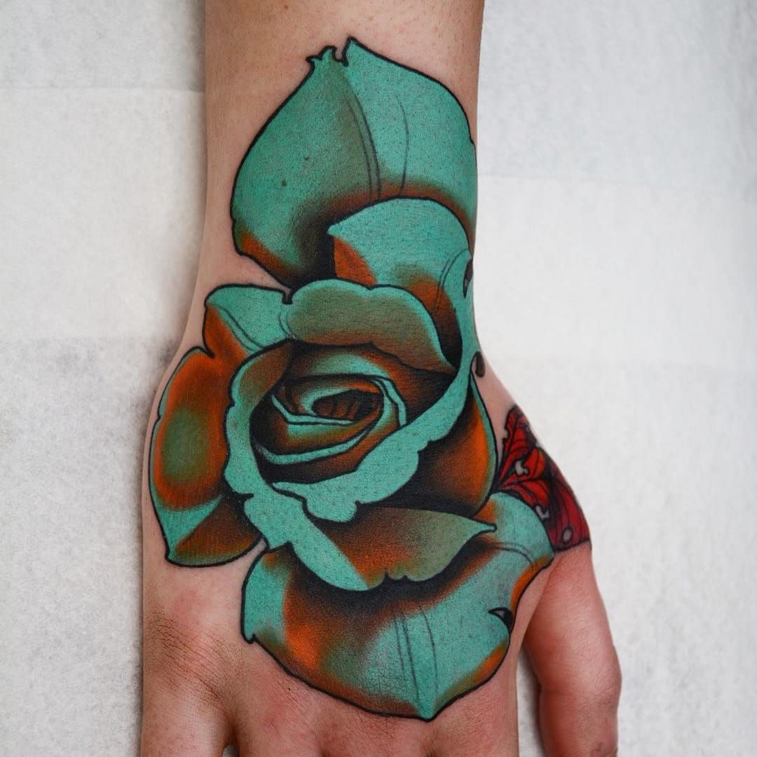 Blue Rose By Jacob Wiman Jacobwiman Flowertattoos Color Neotraditional Flower Rose Floral N Traditional Rose Tattoos Neo Tattoo Traditional Hand Tattoo