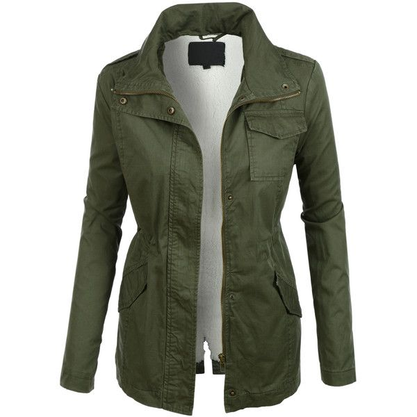 LE3NO Womens Sherpa Lined Long Sleeve Military Anorak Jacket ($34) ❤ liked on Polyvore featuring outerwear, jackets, coats & jackets, coats, shirts, military jacket, military anorak, green anorak coat, green military style jacket and fashion military jacket