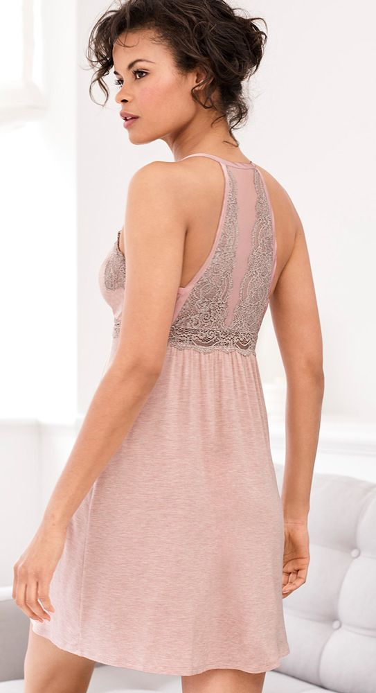 ef9a4440b0 Look gorgeous from every angle in this sleep chemise with a lacy back. Soma