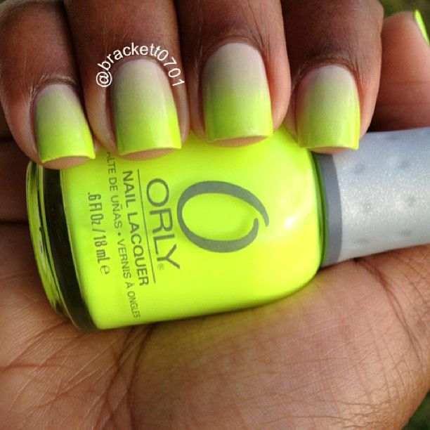 Current mani Nude and Neon Gradient Nails with Essie Sand Tropez and ...