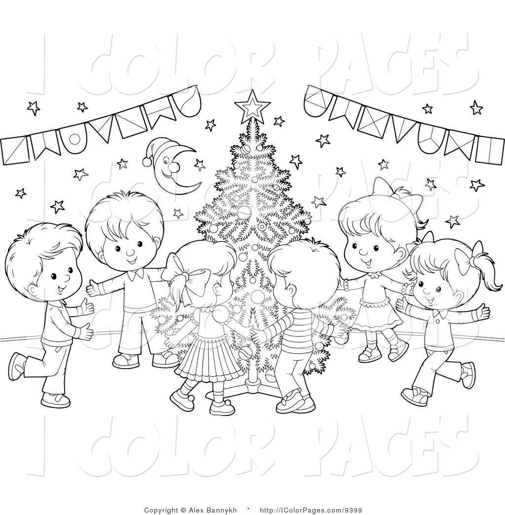 Christmas Tree Coloring Pages | ... Coloring Page of Kids Dancing ...