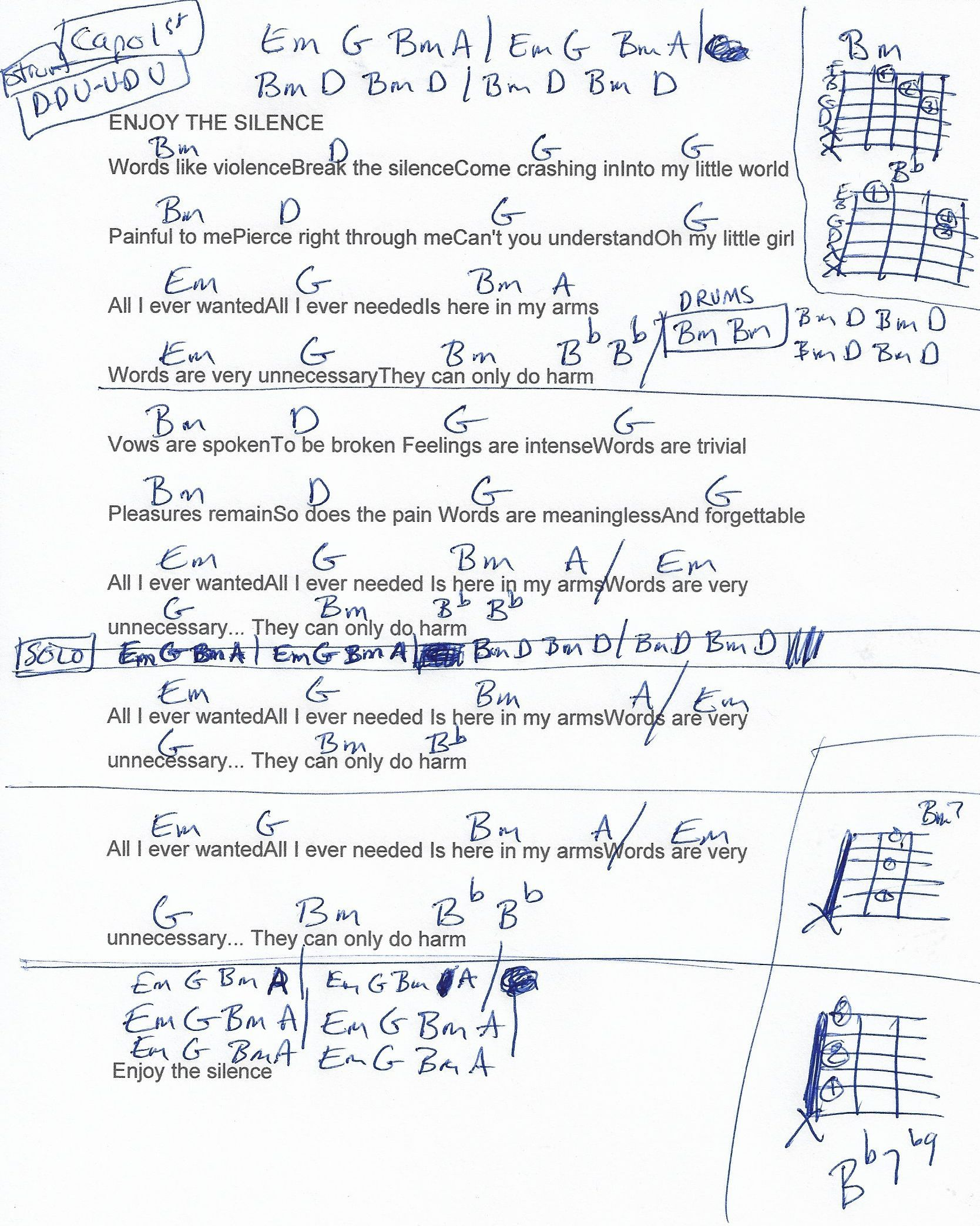 Enjoy The Silence Depeche Mode Guitar Chord Chart  Capo St