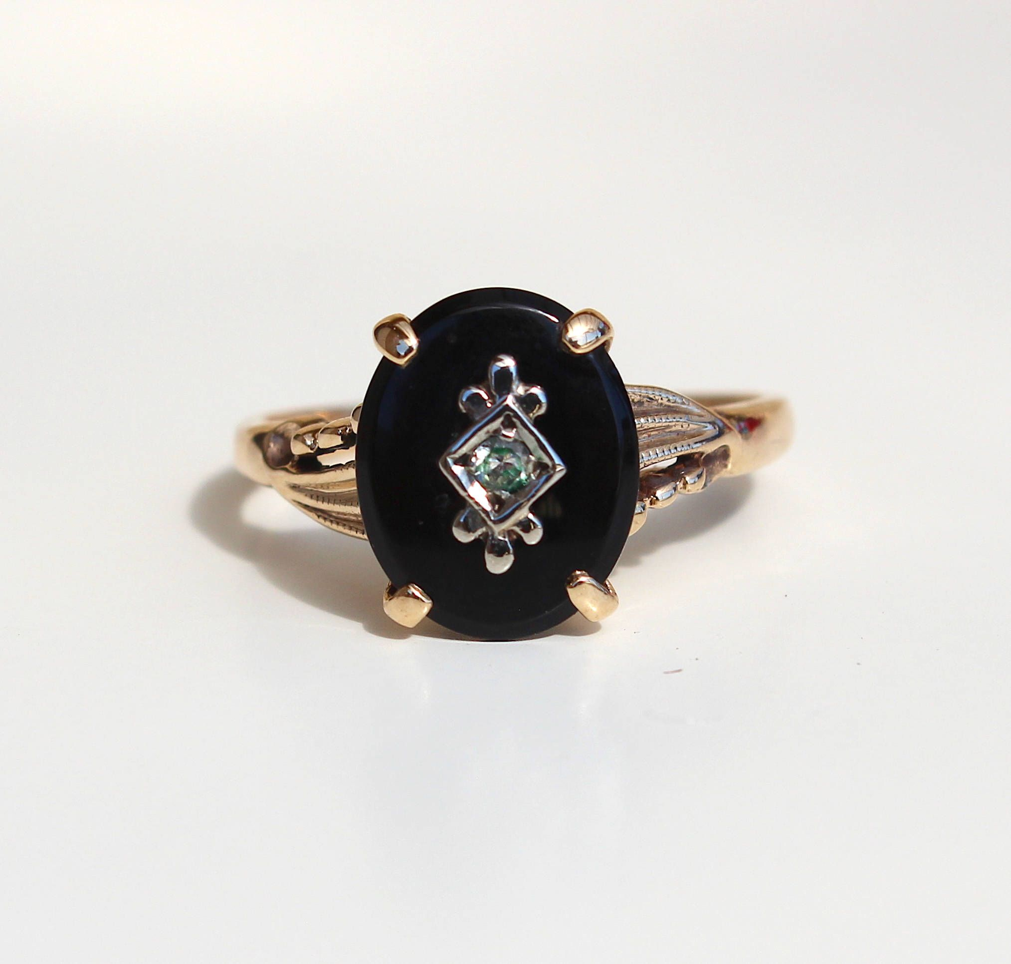f3100f86b98 Vintage Art Deco 10k Yellow Gold Black Onyx Diamond Ring - 1930s ...