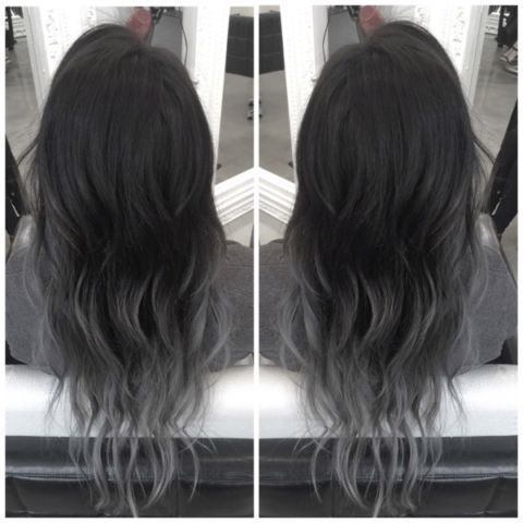 Black Hair Dyed With Gray Ends Grey Ombre Hair Black Hair Dye Ombre Hair