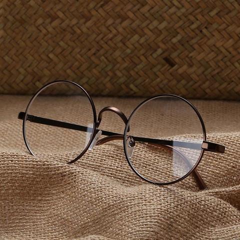 48bc9c4c60ffa Fashion Eyewear Vintage Metal Round Glasses Frame Women Men Eyelasses Clear  Lensesmodlilj