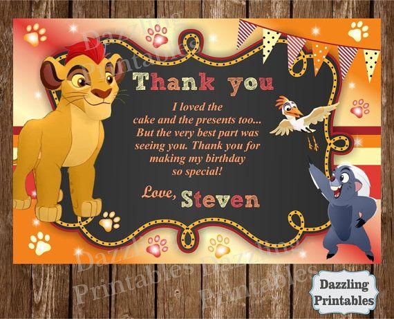 The Lion Guard Lion King Digital Thank You Card Kion Invite Bunga Invitations Ono Invite Lion Guard Birthday Party Baby Boy First Birthday Lion Guard Birthday