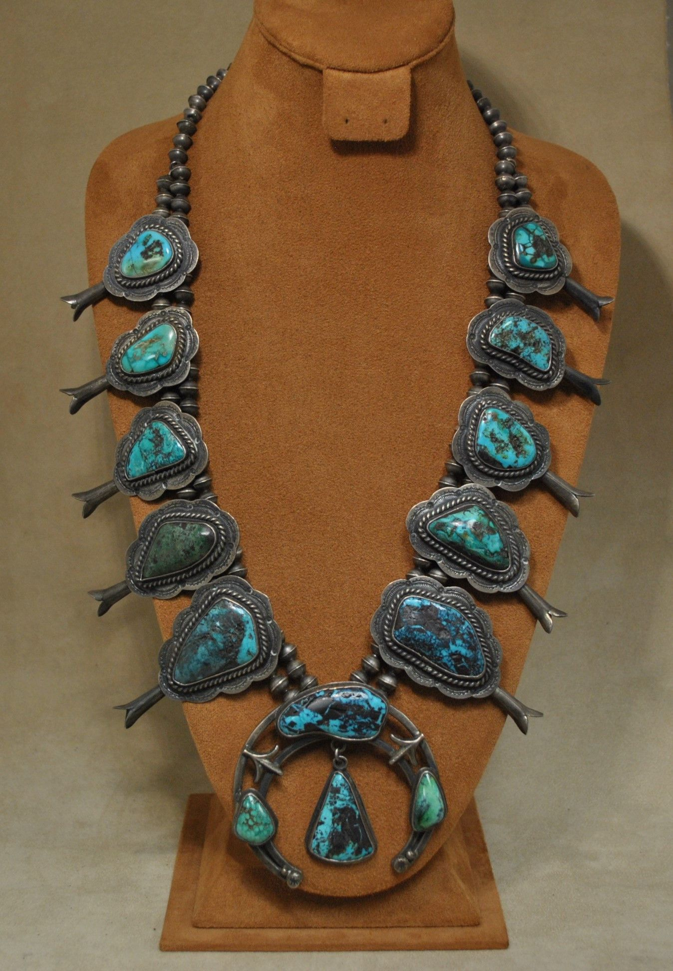 Beautiful Vintage Sterling Silver Turquoise Squash Blossom Necklace