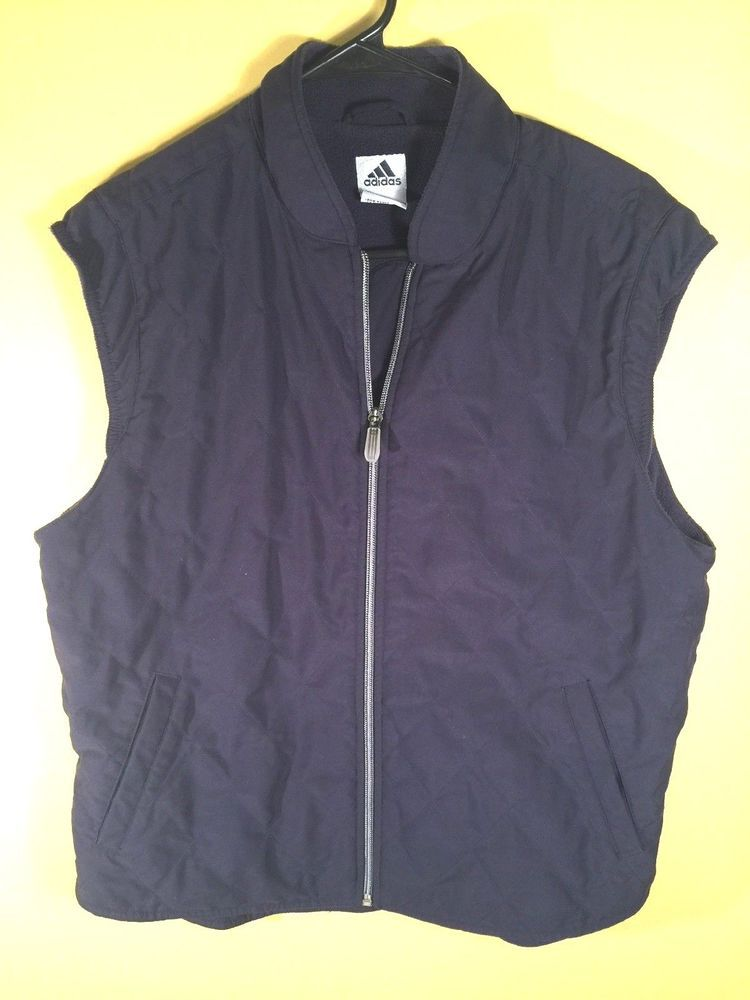 063b979d5beec Adidas Vest Jacket Women s XL Navy Blue Zip Front Sleeveless Warm Lining