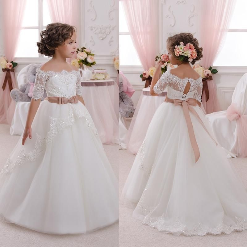 1eb6f7d70adb7 2016 New Lovely Flower Girl Dresses For Weddings Off Shoulder Short Sleeve  Ball Gown Formal Custom First Communion Dress Child Party Gowns Orange  Flower ...