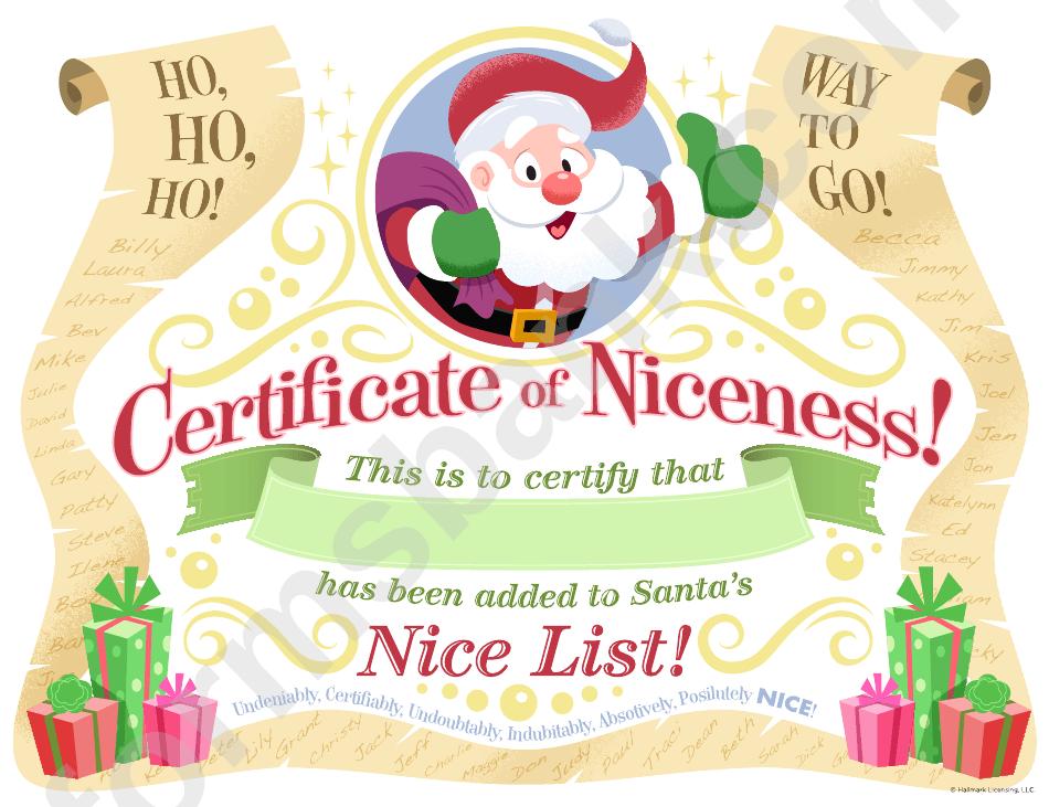 Certificate Certificate Of Niceness Template Christmas Pinterest