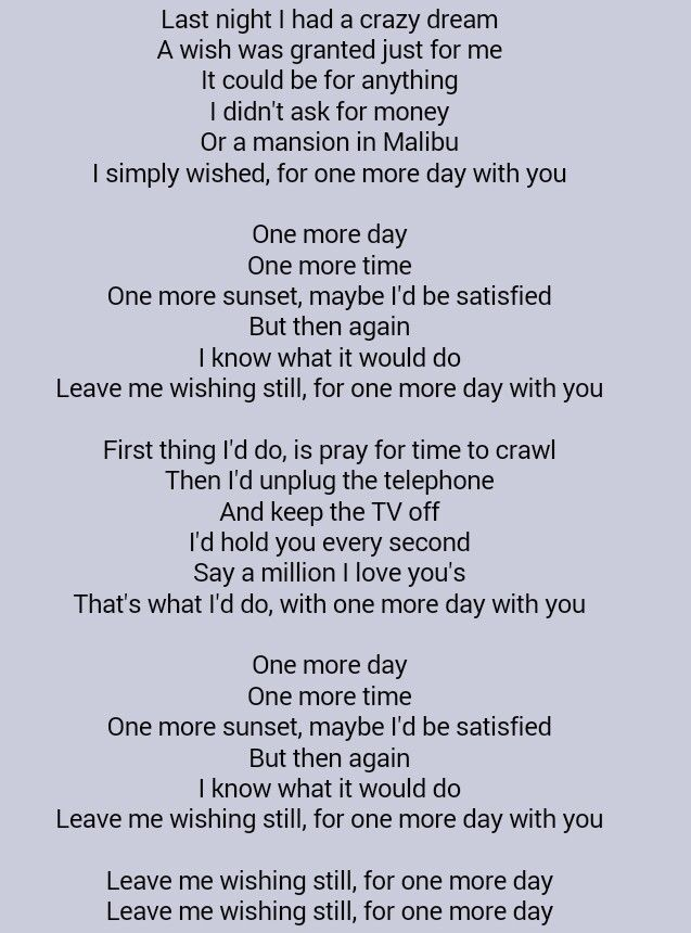 Diamond Rio One More Day Song Words Country Lyrics Family Celebrations
