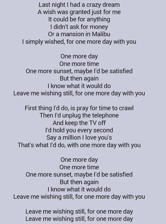 Diamond Rio One More Day Words Music Lyrics One More Day
