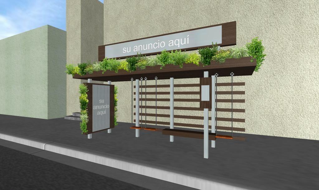 Paradero de autobus con jardin vertical y colgante con for Arquitectura de jardines