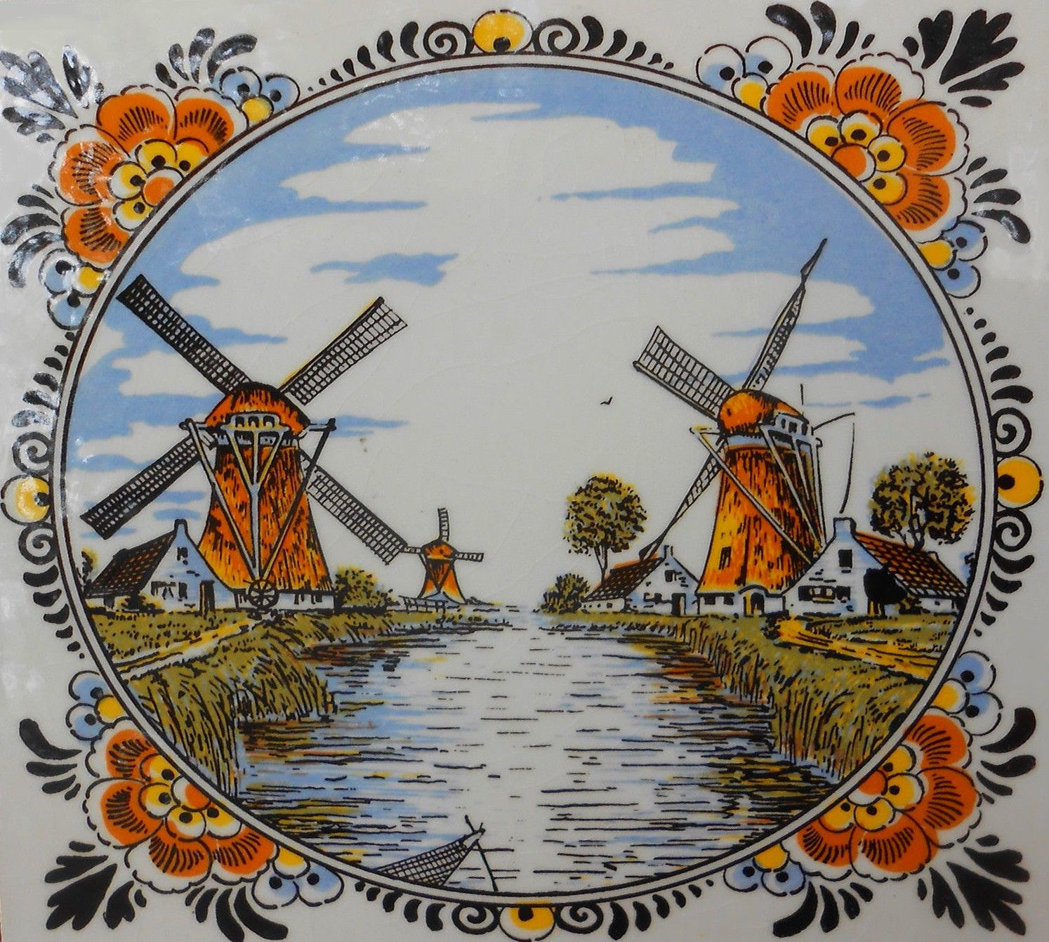 Delft holland windmills ceramic tile multi colored hand painted delft holland windmills ceramic tile multi colored hand painted vintage dailygadgetfo Image collections