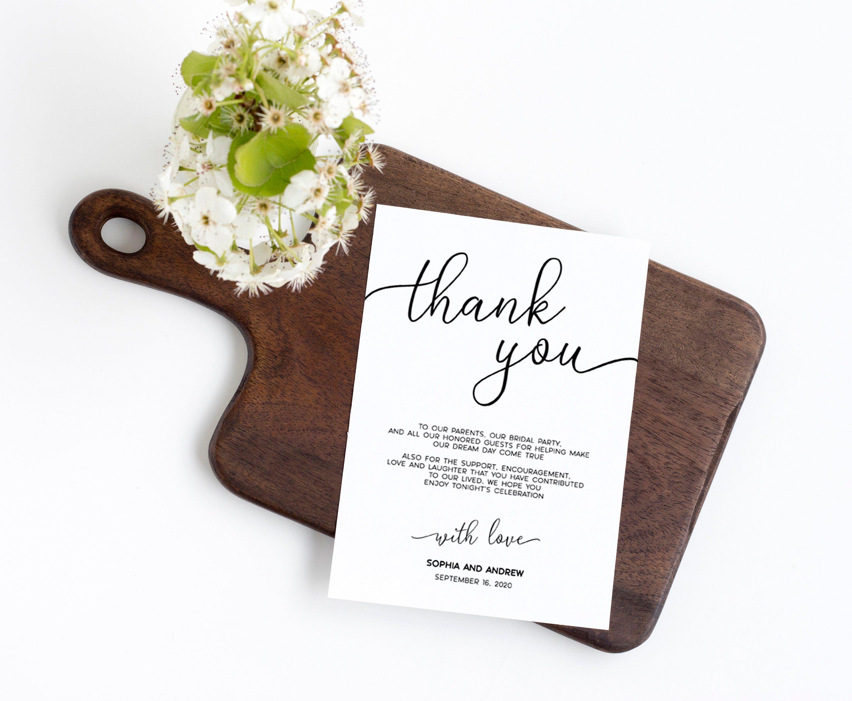 Wedding Thank You Note, 100 Editable Template, Printable