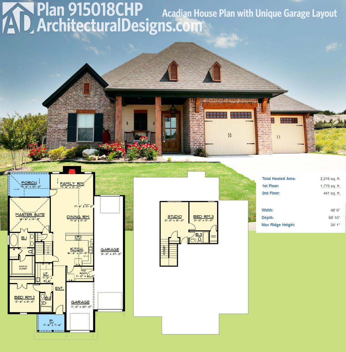 Plan 915018chp Acadian House Plan With Unique Garage Layout Acadian House Plans House Plans Courtyard House Plans