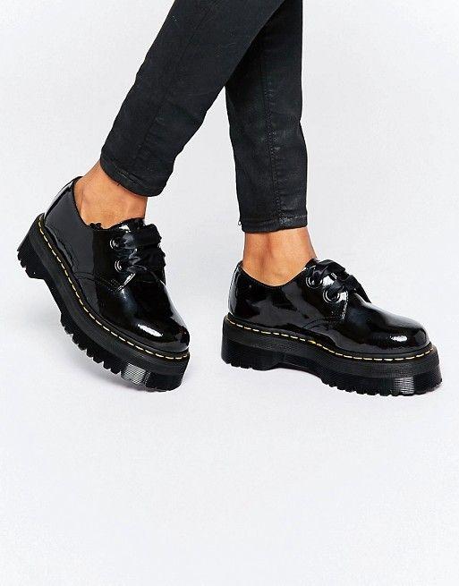Dr Martens | Dr Martens – Holly – Schuhe mit flacher Plateausohle und  Schleife