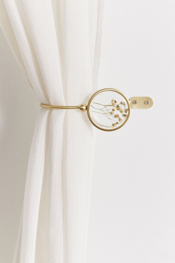 Pressed Floral Curtain Tie Back Set In 2020 Floral Curtains