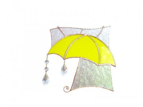 Yellow Umbrella Stained Glass Suncatcher Rain