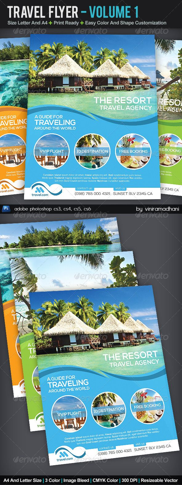 Travel flyer volume 1 font arial adobe and adobe for Brochure templates for photoshop cs5