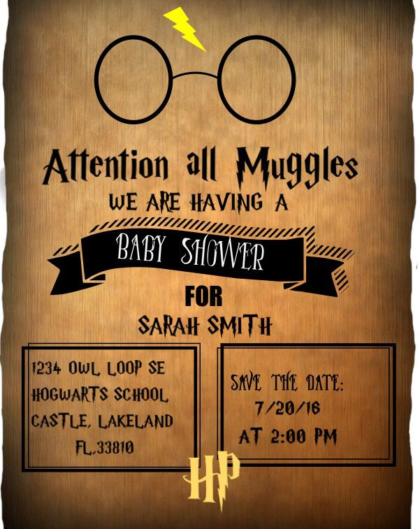 Harry Potter Invitation Harry potter baby shower Harry potter and