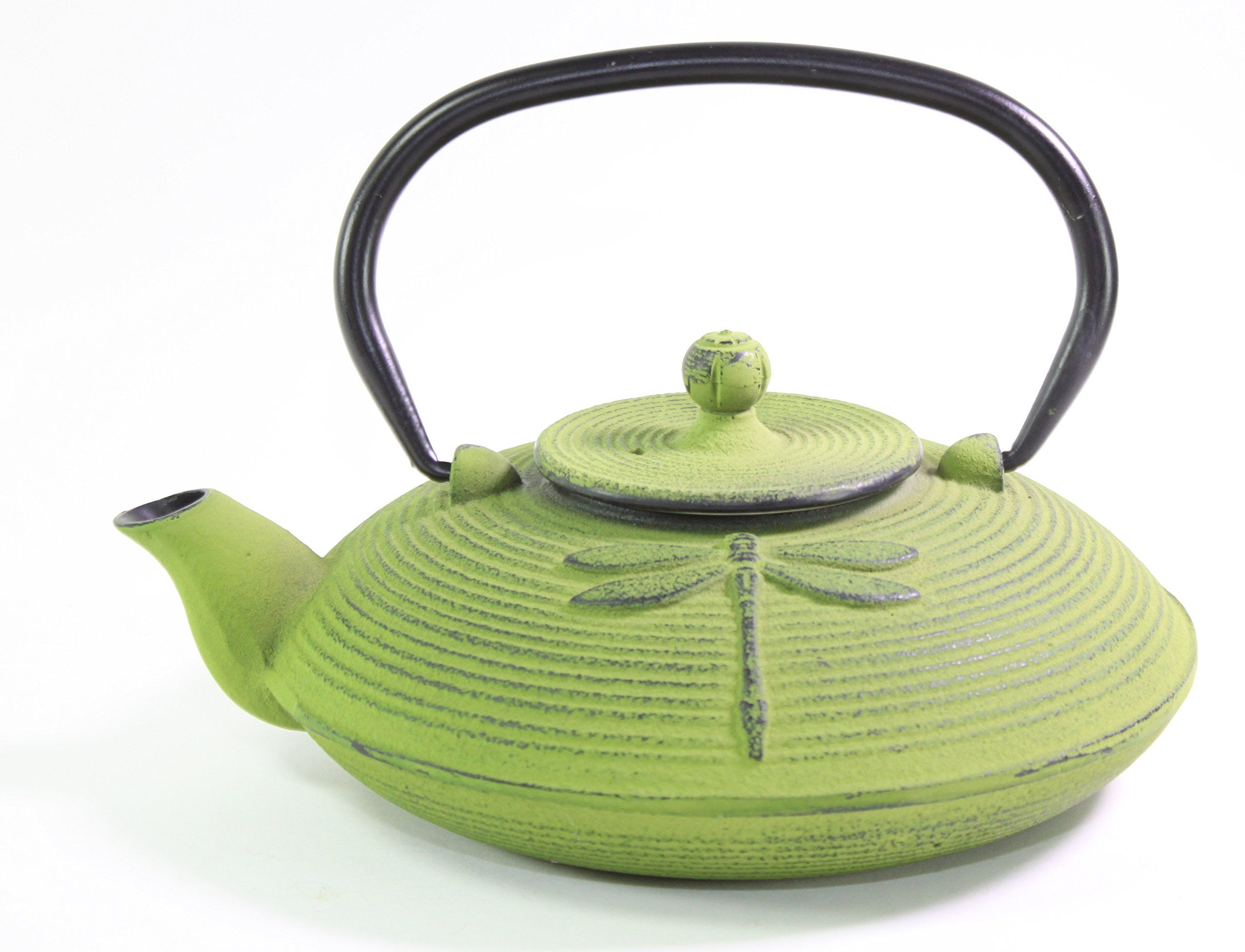 Ceramic Stainless Steel Kitchen accent Flip Lid Lime Green Tea Pot