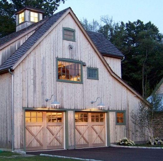 20 Traditional Architecture Inspired Detached Garages: Gooseneck Warehouse Shades Accent Barn-Style Garage