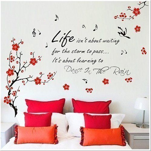 HUGE Flower Blossom Butterflies Children Wall Stickers Dance Rain Paper Quotes