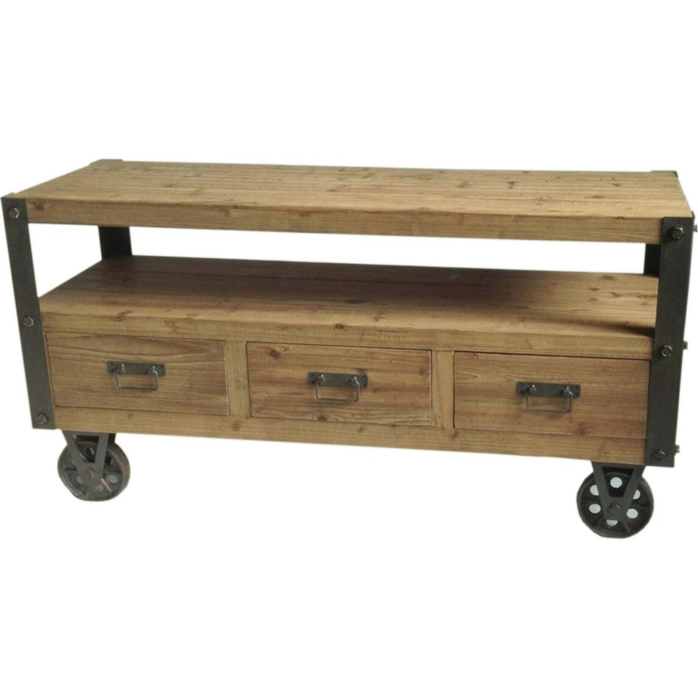 Tv television stands austin s furniture - Moe S Home Collection Stockton 3 Drawer 2 Shelf 48 Tv Stand In Solid Fir W Iron Accents Casters
