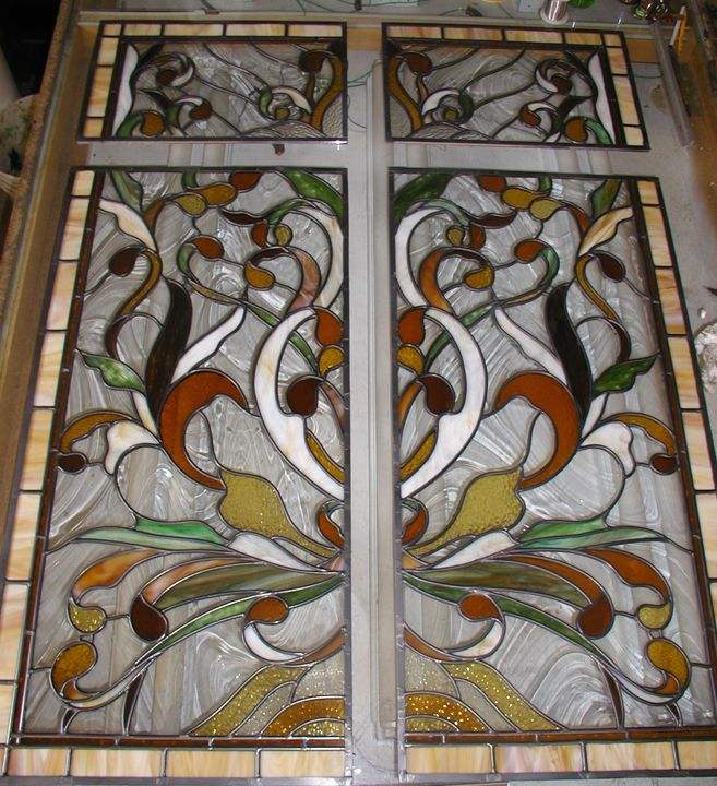 Art nouveau style leaded stained glass pocket door panels art nouveau style leaded stained glass pocket door panels planetlyrics Gallery