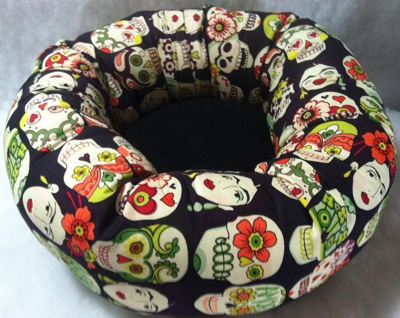 Frida Kalho Sugar Skulls Luxury Pet Dog Cat Bed Bright Day of the Dead Mexican Folk Art Pet Supplies by GroupOneDogGallery on Etsy