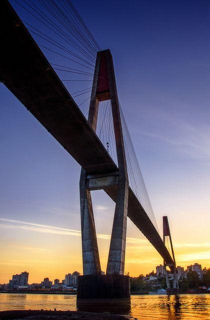 Skytrain Bridge at Sunset, Surrey, BC, Canada