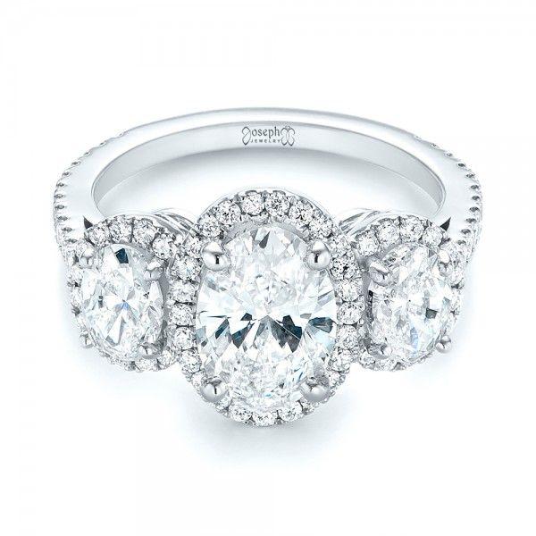 4679fd7ff9c87 Custom Three Stone Diamond Halo Engagement Ring | Bellevue | Seattle ...