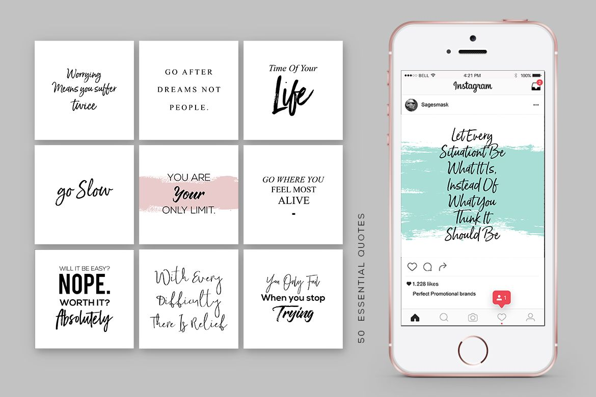 Instagram and social media quote bundle. Easy content for