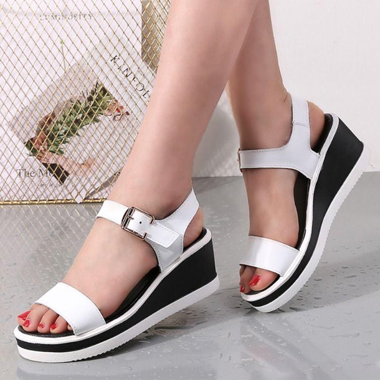 a5817cb14672 Plain Peep Toe Casual Date Wedge Sandals  WedgeSandals