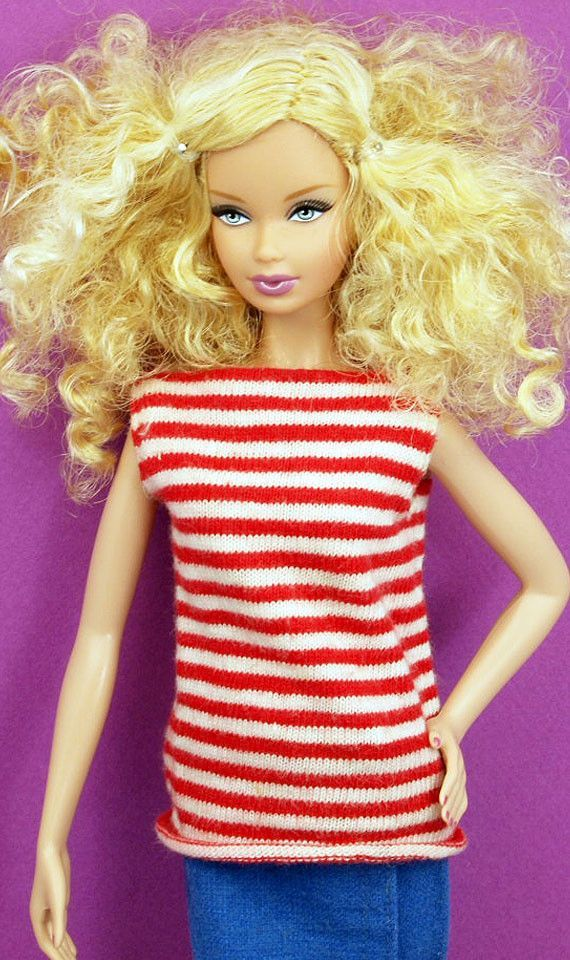 Barbie Vintage Striped Boat Neck Top