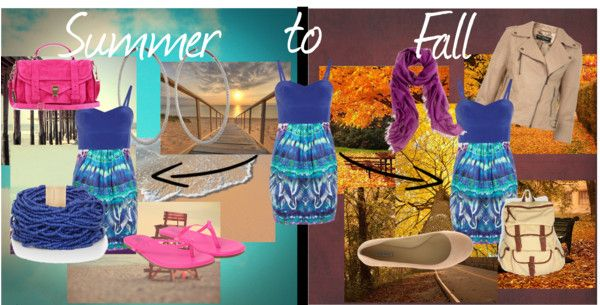 """""""Summer To Fall""""  Take a piece of summer clothing and fit it into your fall wardrobe!"""