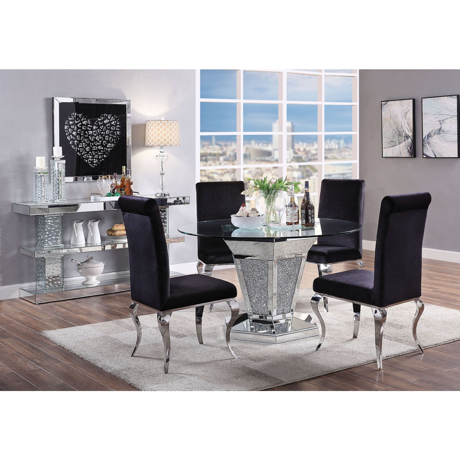 Noralie 52 Round Dining Table In Mirror Faux Diamonds Clear