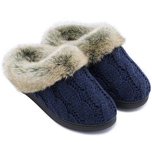 Womens Soft Yarn Cable Knit Slippers Memory Foam Anti Sk Https