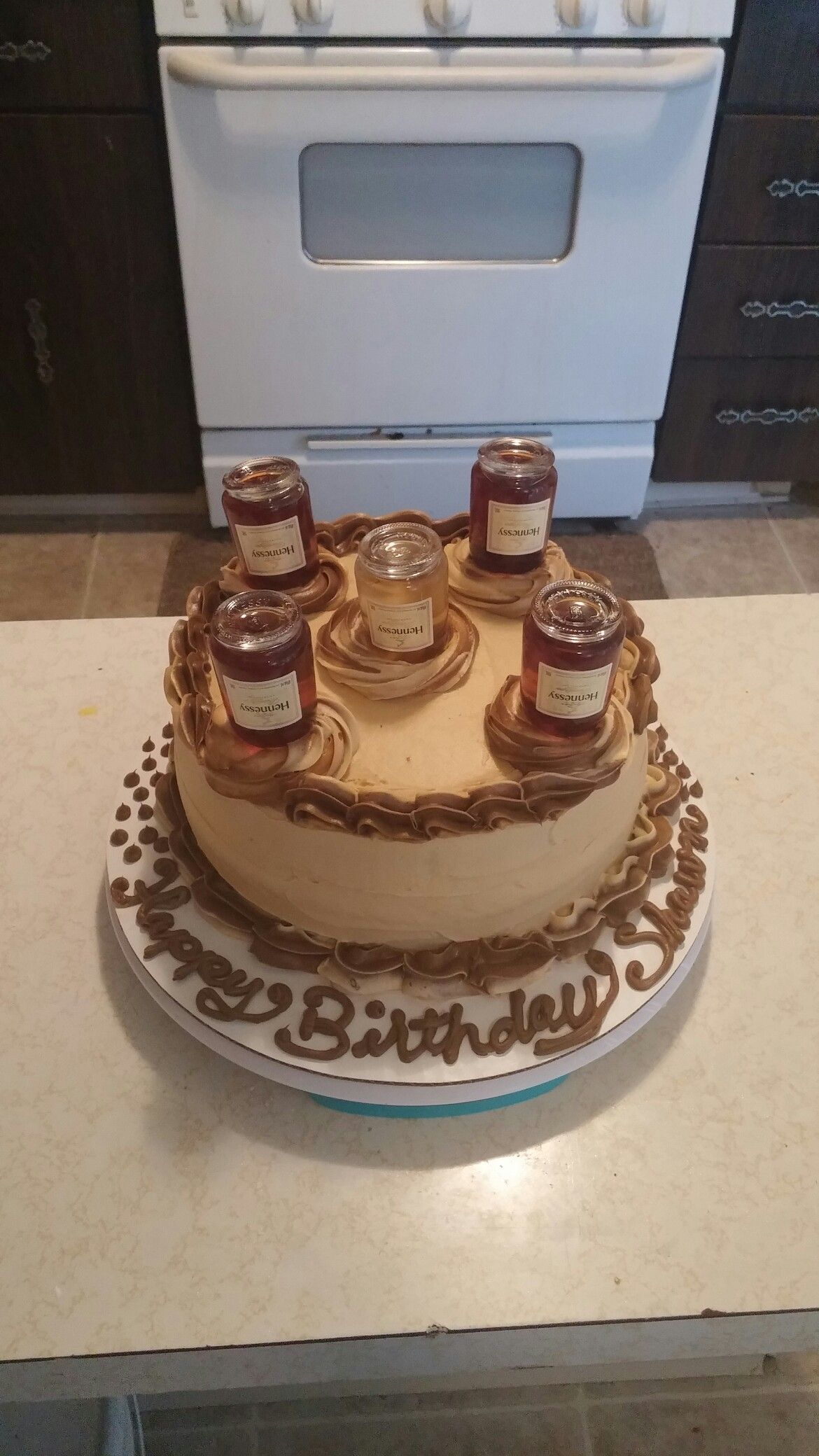 hennessy birthday cake hennessey infused cake with mini henney bottles on top 4786