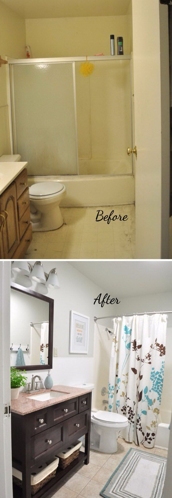 before and after 20 awesome bathroom makeovers diy on bathroom renovation ideas diy id=94137