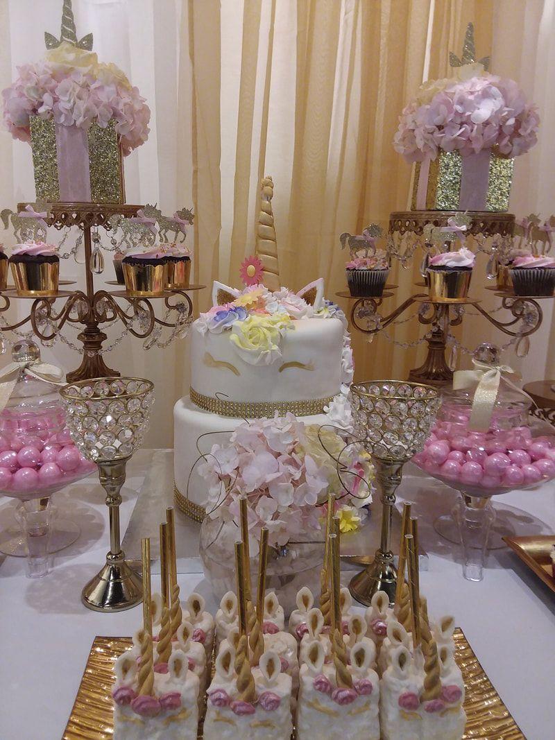 Unicorn Baby Shower Unicorn Candy Table Unicorn Party Pink And Gold Candy Buffet Balloon Garland Baby Shower Dessert Table Candy Buffet Gold Candy Buffet
