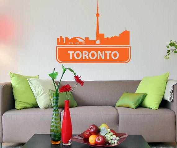 Wall Decal Home Decor Art Mural Toronto skyline by studioArtdecor