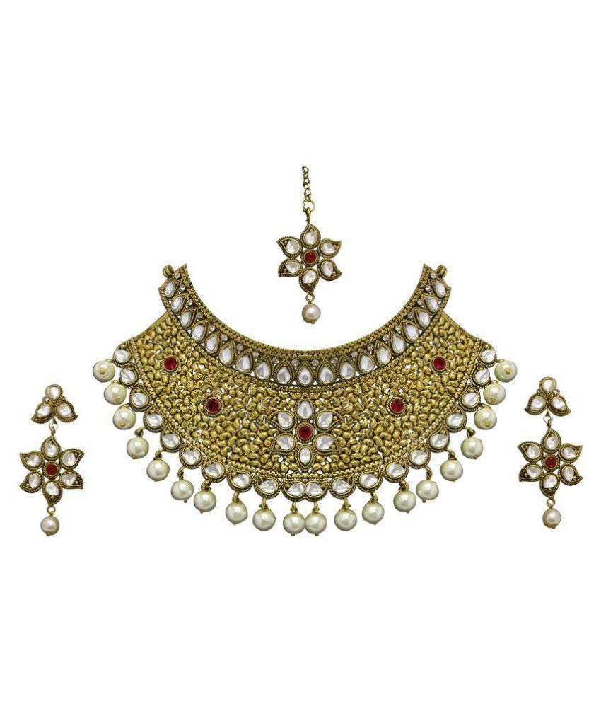 Zaveri Pearls Golden Alloy Necklace Set Necklace Pinterest Pearls