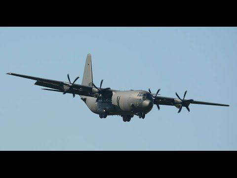 Live ATC) Royal Air Force C-130 Hercules landing runway 14