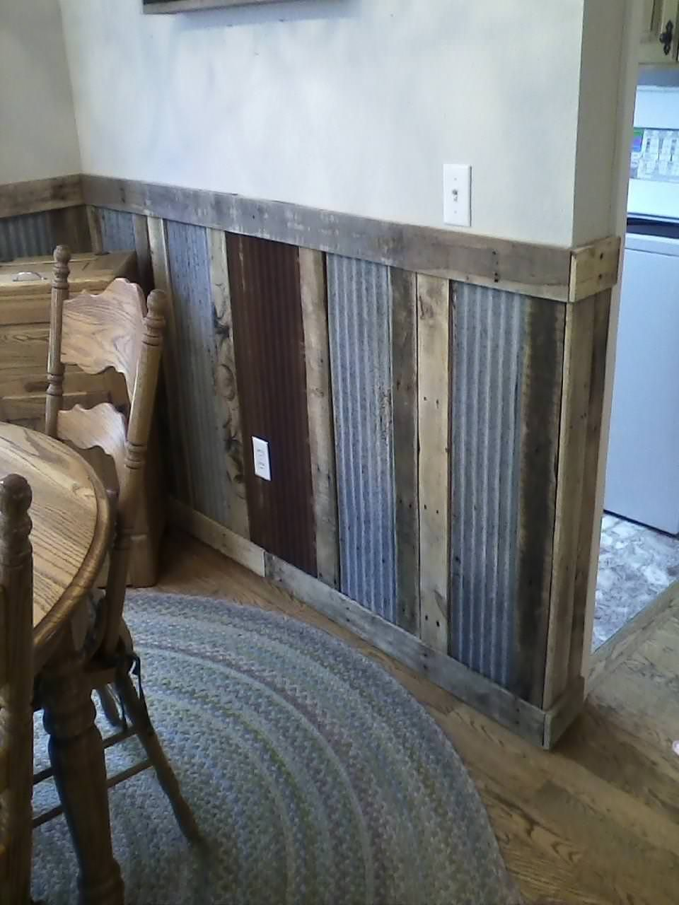 Pallets Plus Tin Makes Stunning Wainscoting! Wood