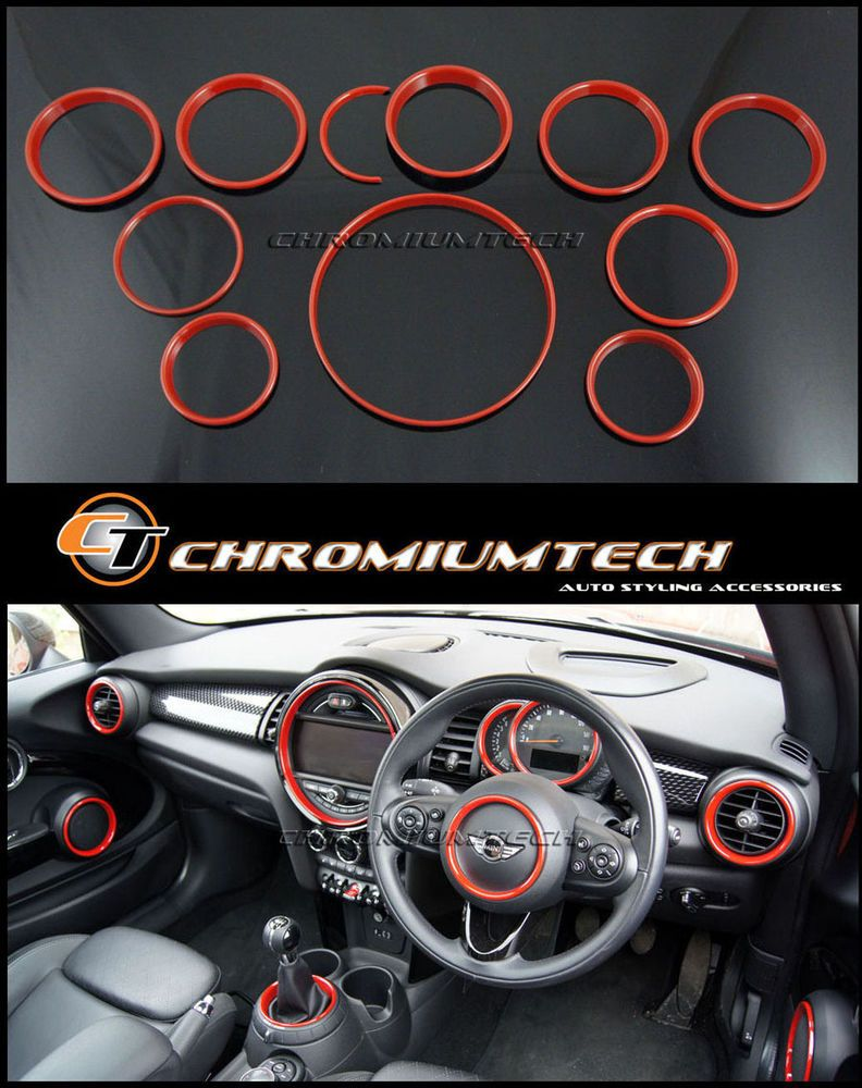 Details About Mini Coopersone F55 F56 F57 Red Interior Rings Kit