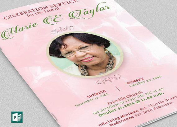 Pink Rose Funeral Program Publisher Template is for a funeral or - funeral service template